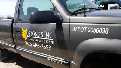 DeYong's Inc Lawn & Landscape Truck Door Decal Graphic Vehicle Pickup Racine Wisconsin