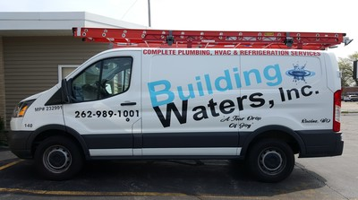 Building Waters Commercial Van Decal Graphic Plumbing HVAC Wrap Ford Transit Racine Wisconsin