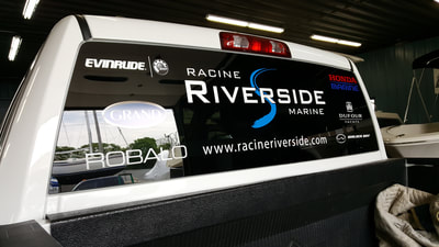 Racine Riverside Marine Rear Window Decal Graphic Robalo Evinrude Walker Bay Pick Up Graphic Wisconsin