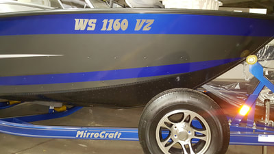Boat Decal Graphic Racine Riverside Vinyl Name DMV Numbers DNR Registration Wisconsin