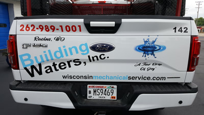 Building Waters Commercial Van Decal Graphic Plumbing HVAC Wrap Ford Pick Up Mt Pleasant Wisconsin