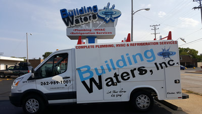Building Waters Commercial Knapheide Utility Box Van Decal Graphic Plumbing HVAC Wrap Ford Transit Racine Wisconsin