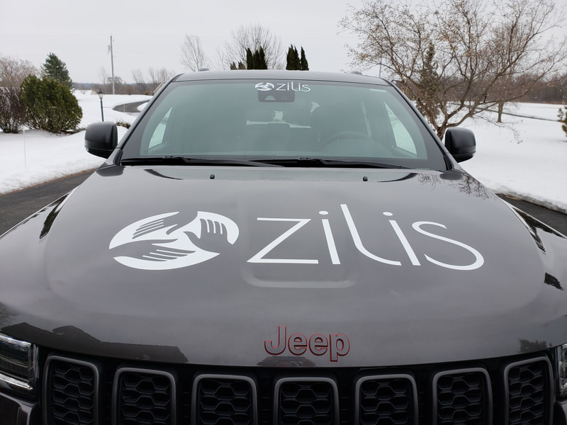 Zilis CBD Oil Jeep Installation Window Lettering Commercial Business Decal Graphics Sturtevant Wisconsin