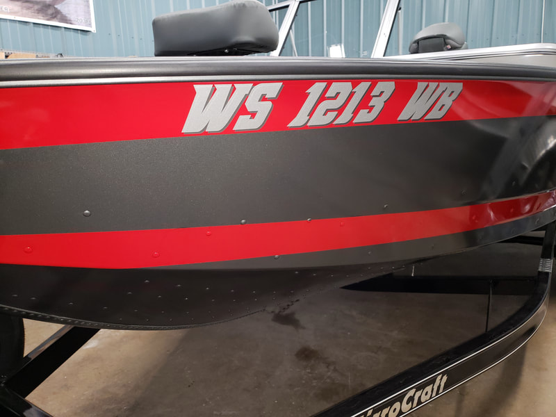Boat Decal Graphic Racine Riverside Vinyl Name DMV Numbers DNR Registration Wisconsin Mirrocraft