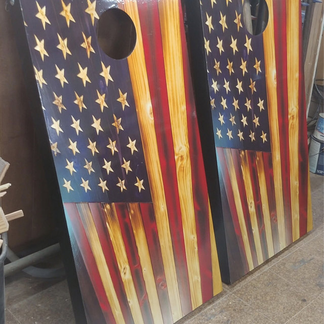 Punisher American Flag Distressed Cornhole Hole Board Vinyl Decal Wrap  Racine Wisconsin