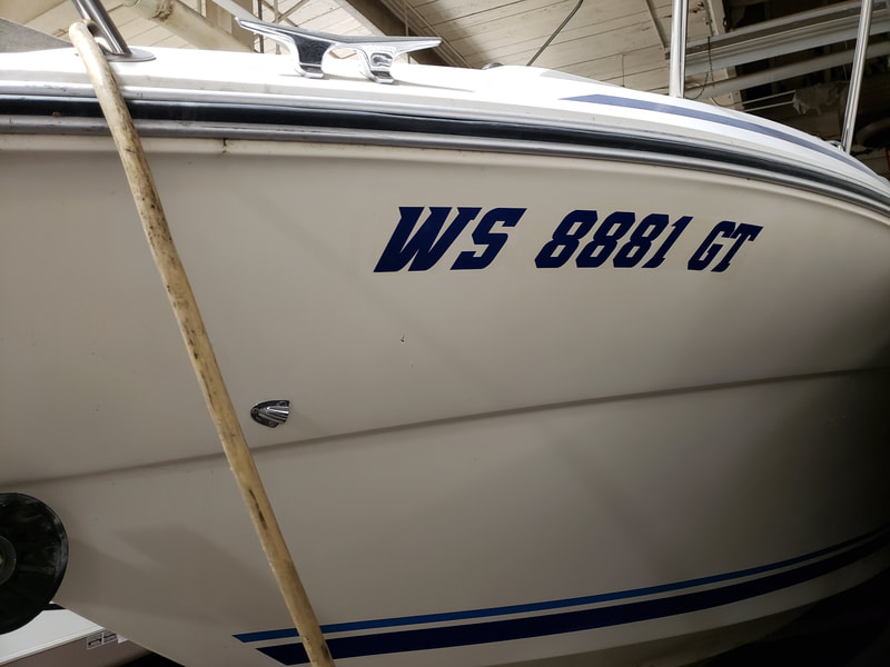 Boat Name Racine Marine Decal Graphic Registration Numbers
