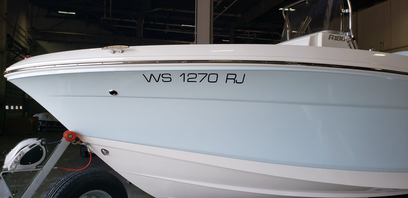 Boat Numbers Registration Decal Letters Robalo Racine Wisconsin Kenosha