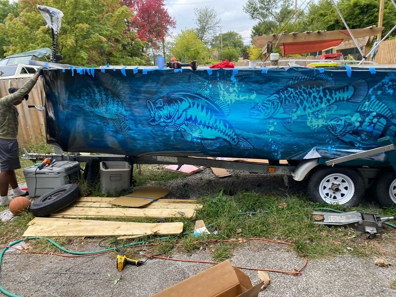Boat Wrap Graphic Decal Fish Bass Racine Wisconsin (2)