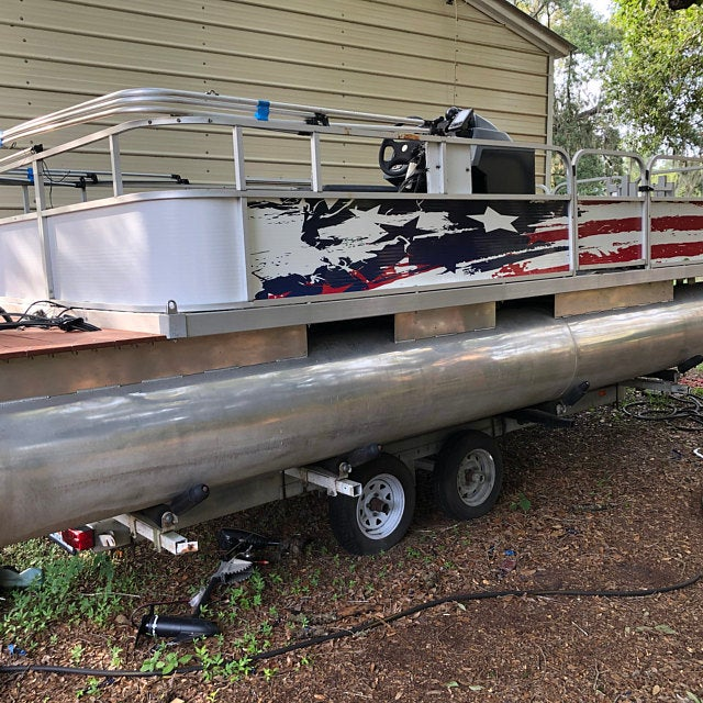 Boat Wrap Graphic Decal Fish Bass Racine Wisconsin Rear Transom Pontoon Distressed American Flag