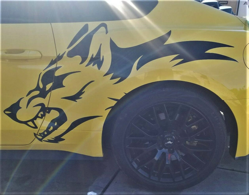 Coyote Wolf Ford Mustang Decal Side Graphic