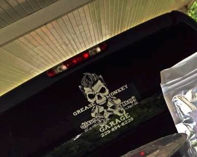 Grease Monkey Garage Rear Pick Up truck Graphic Decal Window Burlington Wisconsin