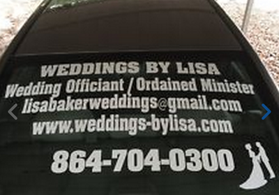 Rear Window Lettering Decal Graphic Wedding Ordained Minister Caledonia Wisconsin