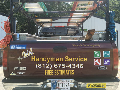 On Call Handyman Service Decal Graphic Pick Up Truck Racine Wisconsin Lettering